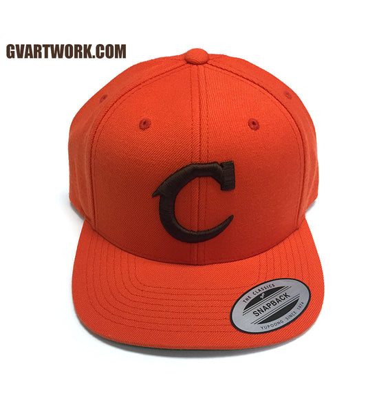 Orange and Brown Team Cleveland C Snap Back