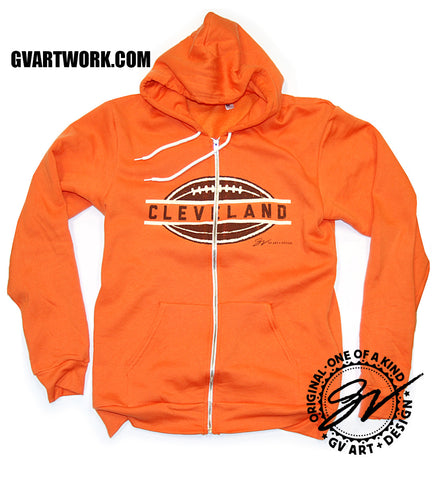 Cleveland Football Orange Zip Up Hoodie