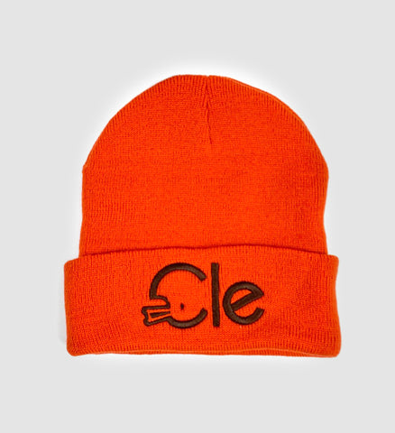 Orange Cle Football Type Winter Hat