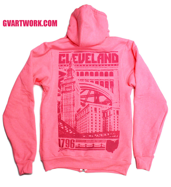 Limited Edition Pink Bold Graphic Cleveland Zip Up Hoodie