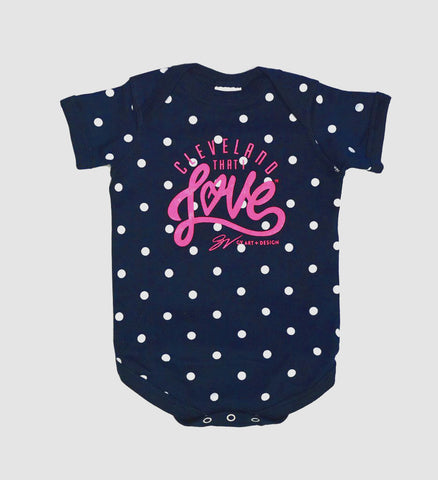 Cleveland That I Love Polka Dot Onesie