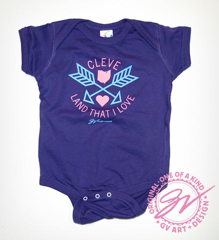 Neon Purple Arrow Cleveland That I Love Onesie