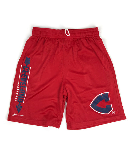 Red Cleveland Baseball Arrowhead C Mesh Shorts
