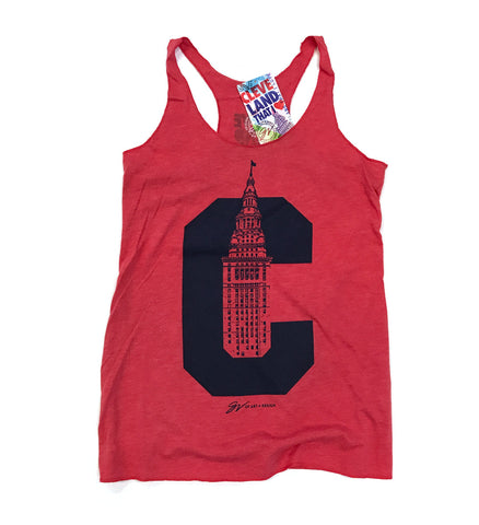 Womens Cleveland C Terminal Tower Racerback Tank - Red
