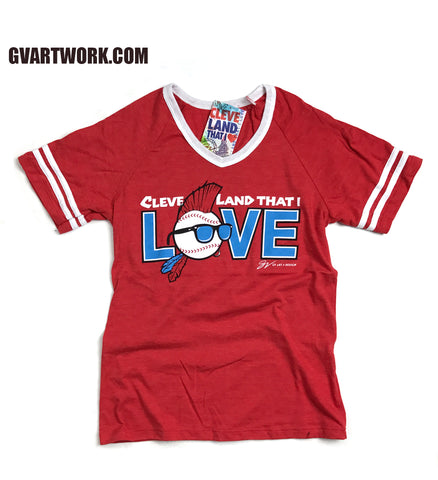 Womens Red Cleveland That I Love Baseball Edition Striped V neck