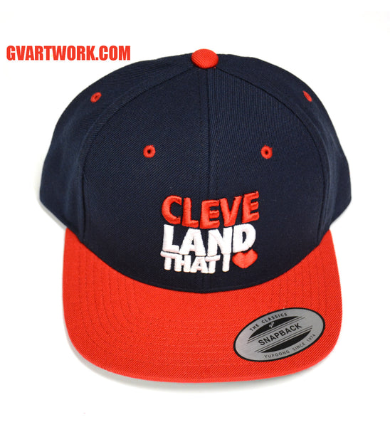 Original Cleveland That I Love Logo Snap Back Hat Navy/Red/White