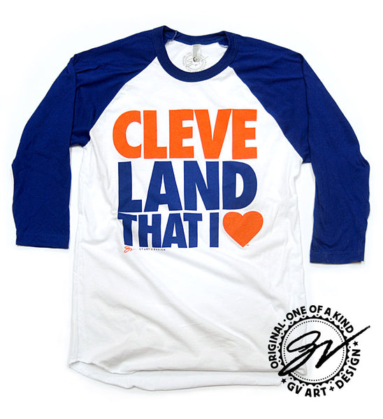 3/4 Sleeve Cleveland That I Love T shirt Royal sleeves