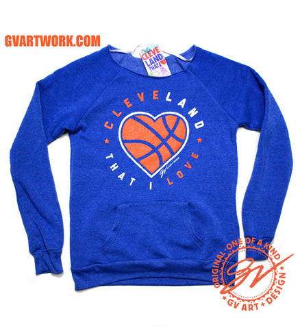 Women's Cleveland That I Love Basketball Heart Pocket Fleece