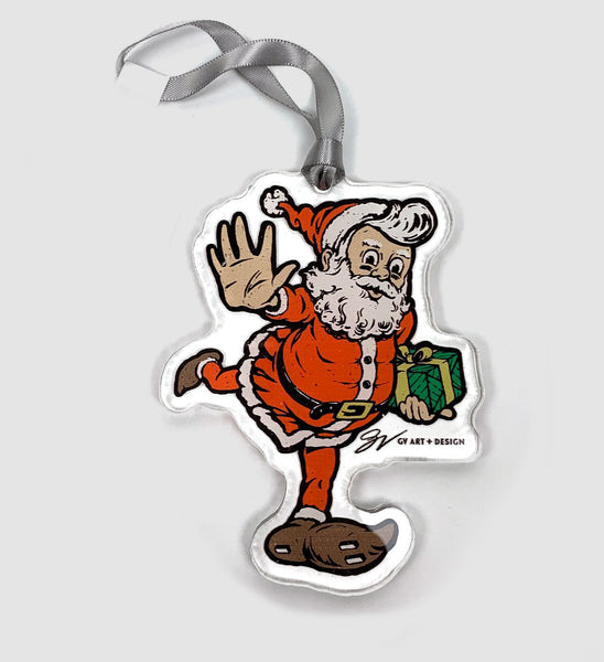 Cleveland Football Santa Clear Ornament