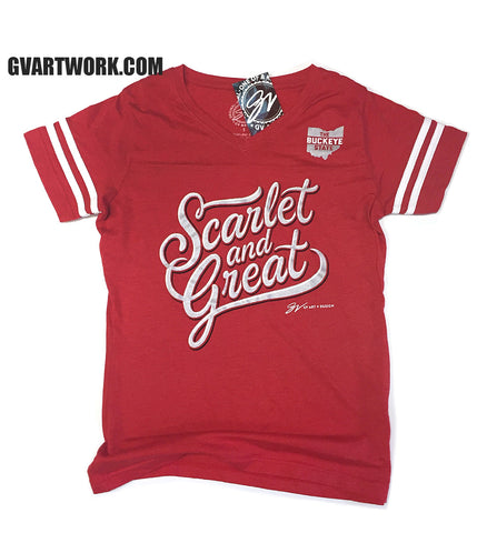 Womens Scarlet and Great Cursive Red Striped V neck