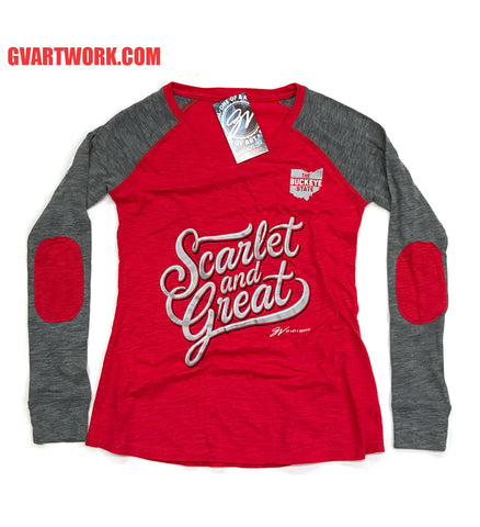 Womens Scarlet and Great Long Sleeve Two Tone