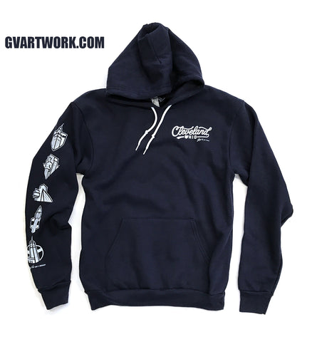 Navy Cleveland Left Chest Script Hoodie
