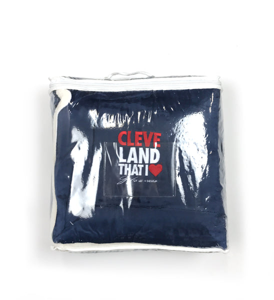 Oversized Navy Cleveland That I Love Sherpa Blanket