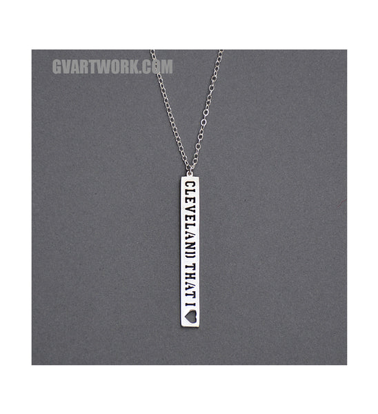 Sterling Silver Cleveland That I Love Down Necklace