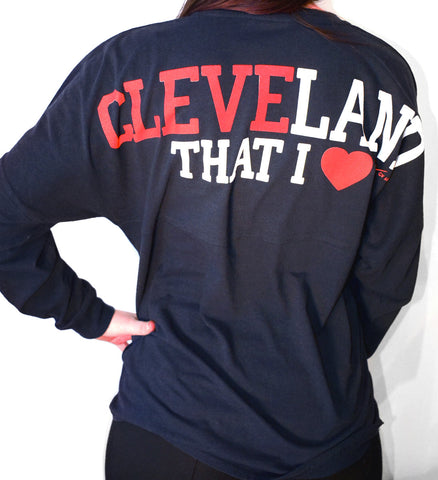 Womens Navy Cleveland That I Love Spirit Tee