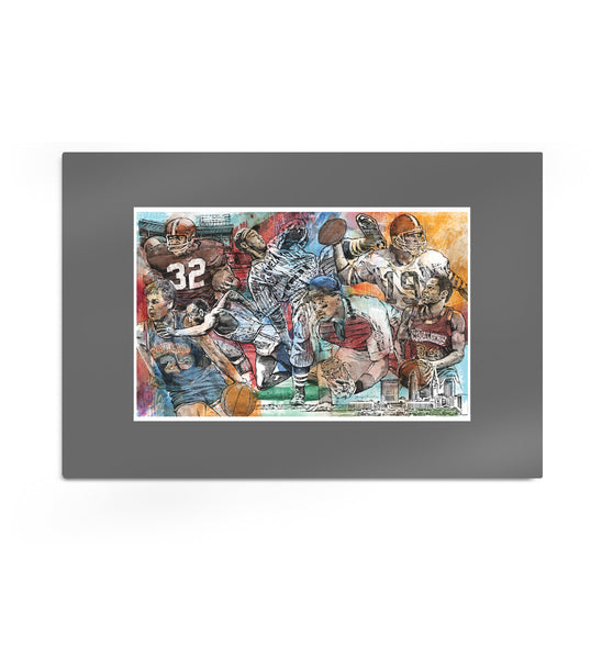 Cleveland Sports Legends Etch Artwork Print