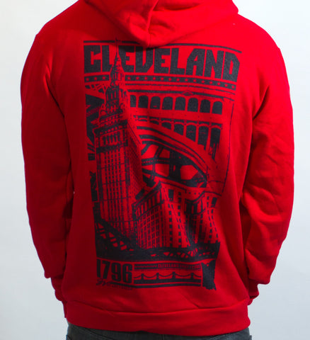 Bold Graphic Red Cleveland Front and Back - Zip Up