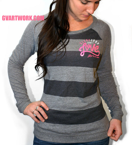 Womens striped Long Sleeve Cleveland That I Love Pink