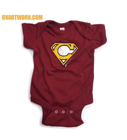 Super C Wine and Gold Onesie
