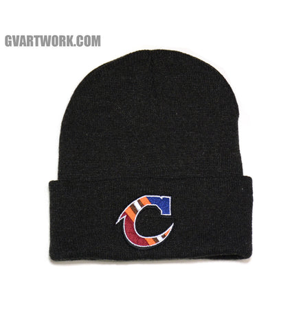 Team Cleveland C Heather Black Winter Hat