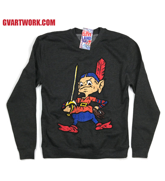 Black Team CLEVELAND Crew Neck Sweatshirt