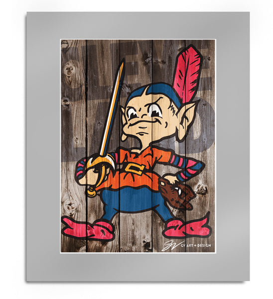 Team Cleveland Wood Background Matted Print