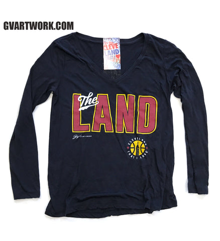 """The Land"" Womens Cleveland Basketball V neck Long Sleeve Shirt"