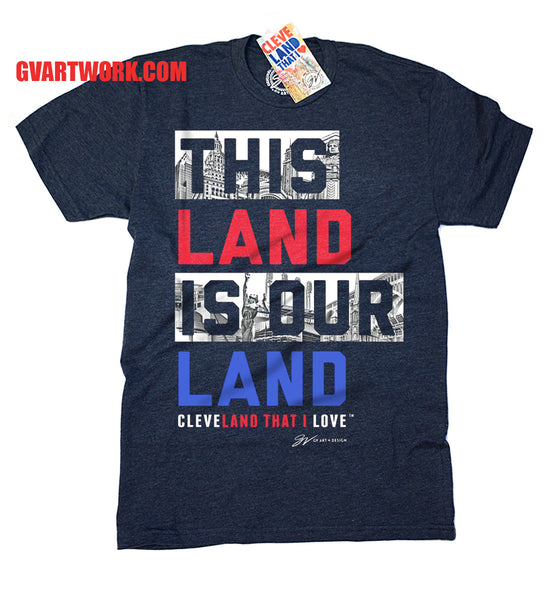 This Land Is Our Land Cleveland T shirt - Navy