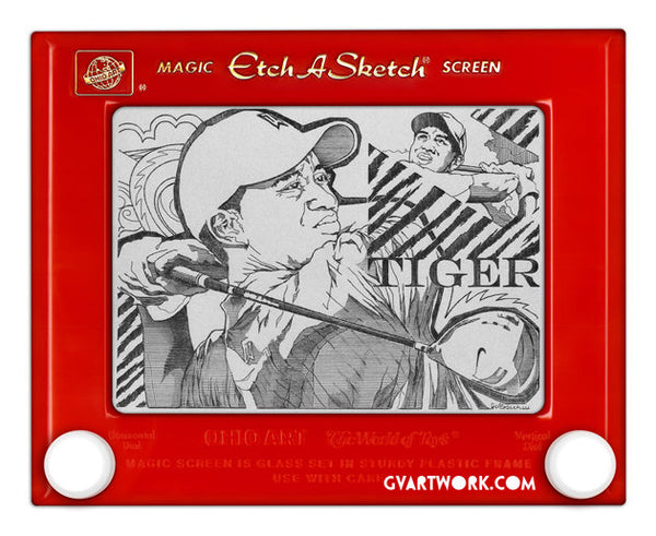 Limited Edition Tiger Woods Etch A Sketch Artwork