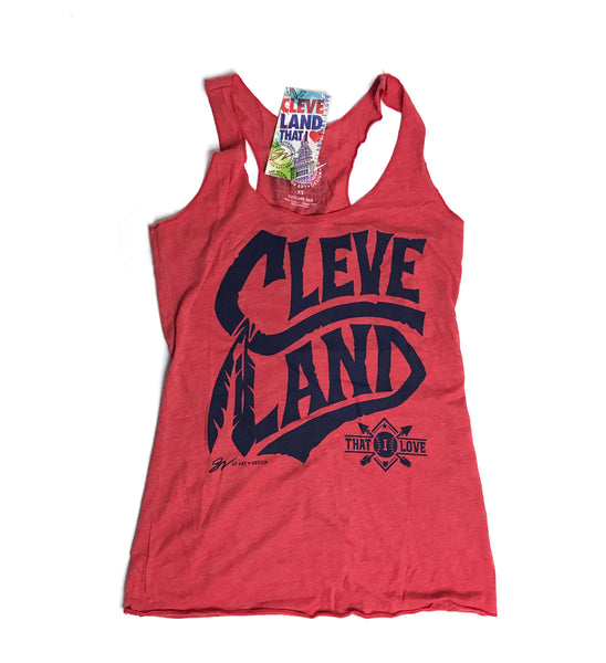 Womens Red Cleveland Tribal Racerback Tank