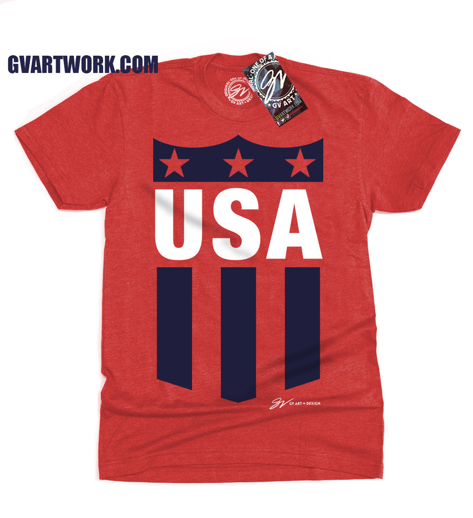 Red Bold United States Crest T Shirt Gv Art And Design
