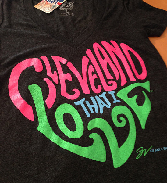 Womens V neck Cleveland That I Love Neon Heart