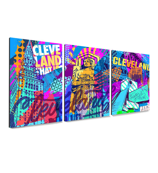 Vibrant Cleveland 3 Canvas Prints Full Series