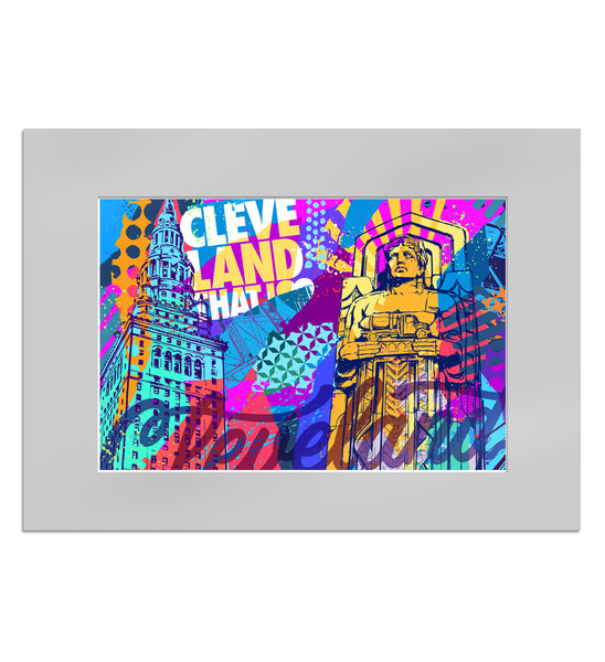 Vibrant Cleveland Artwork Matted Watercolor Print