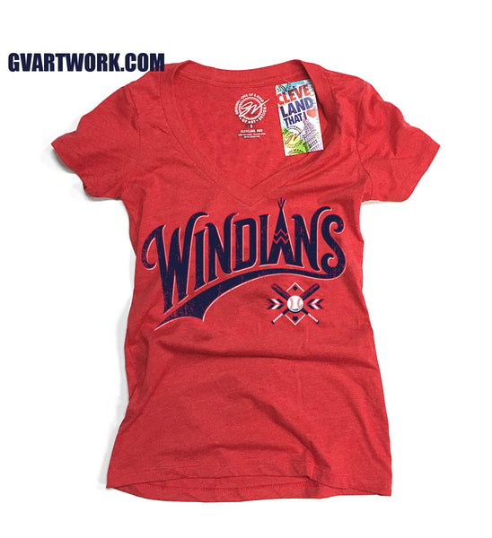 Womens Red Windians V neck Cleveland Baseball T shirt