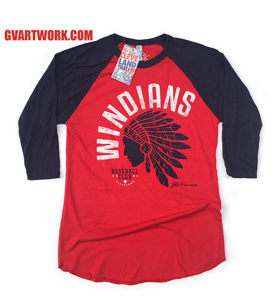 3/4 Sleeve Cleveland Windians Baseball Shirt