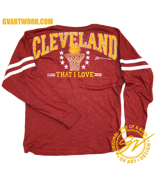 Womens V neck Wine and Gold Cleveland That I Love Basketball Spirit Tee