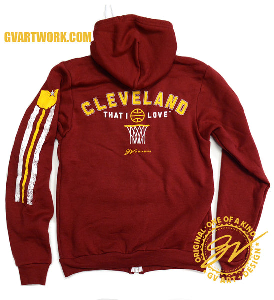 Cleveland That I Love Wine and Gold Basketball Zip Up