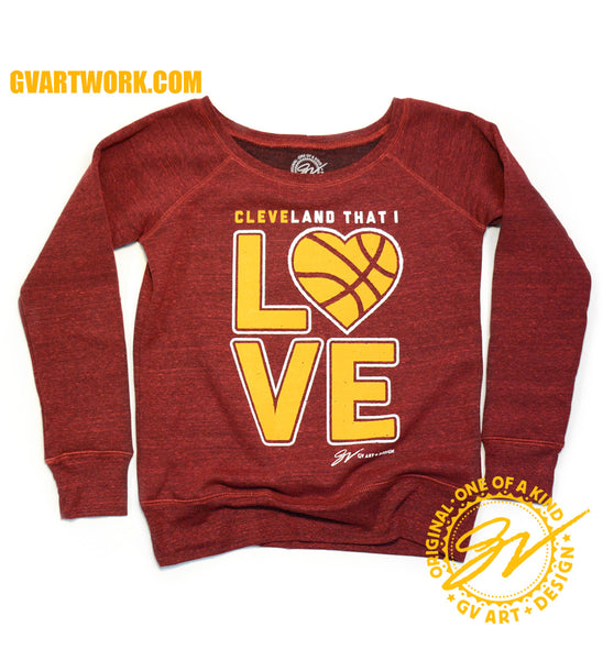 Women's Wine and Gold Cleveland That I LOVE Heart Basketball Fleece