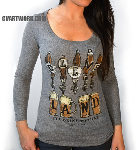Long Sleeve  Women's Cleveland. I'll Drink To That T shirt