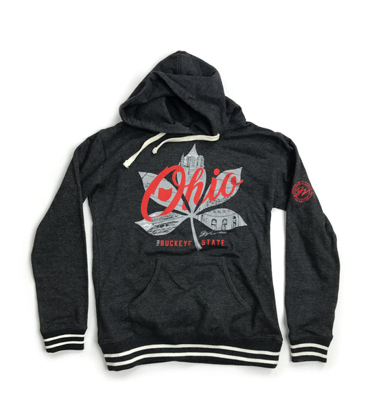 Women Striped Buckeye Leaf Ohio Script Hoodie
