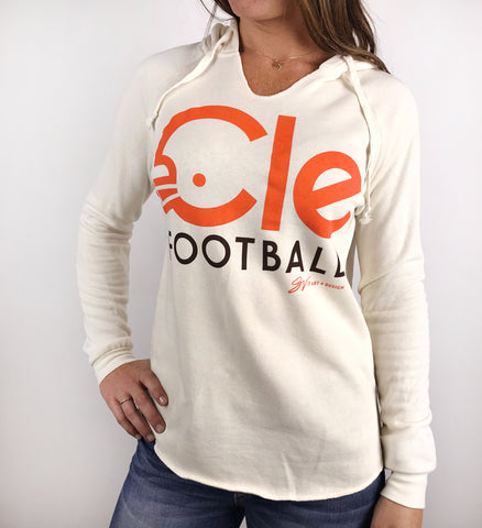 Womens CLE Football Type Hooded Sweatshirt