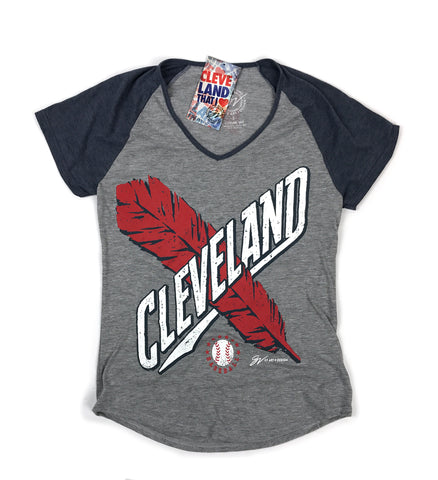 Womens Cleveland Cross Feather Two Tone T shirt