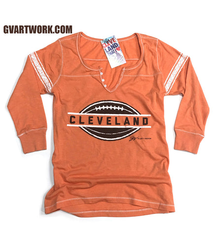 3/4 Sleeve Womens Cleveland Football V Neck