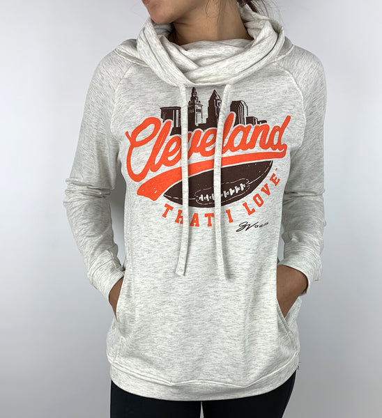 Women's Cleveland Football Skyline Funnel Neck Sweatshirt