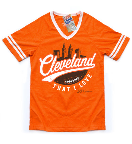 Womens Cleveland Football That I Love Striped Shirt