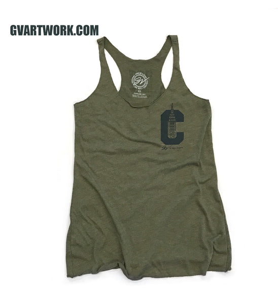 Womens Cleveland C Terminal Tower Racerback Tank - Green