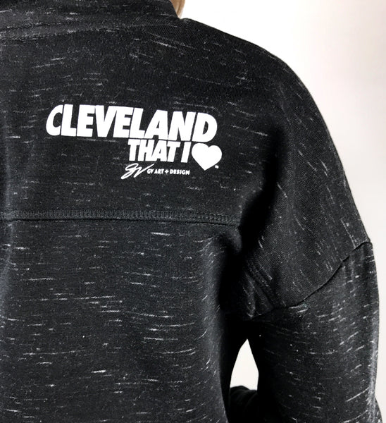 Women's Heather Black Cursive Cleveland Pullover Fleece