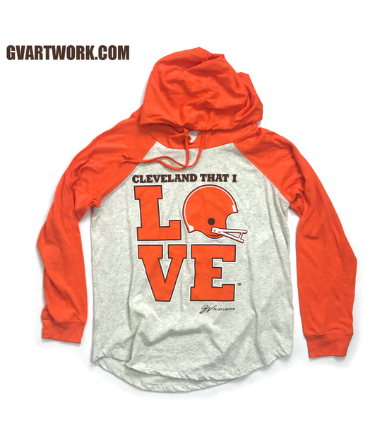 Women's Cleveland That I Love Orange Helmet Pullover