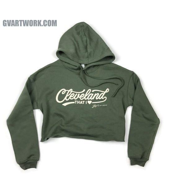 Women's Cropped Cleveland Script Hooded Sweatshirt